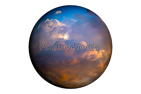 globe showing sky with clouds