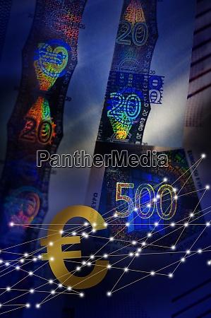 euro symbol and euro bills