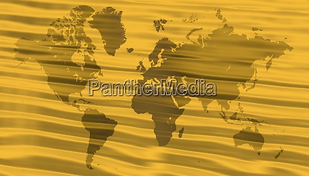 world map over wavy gold background