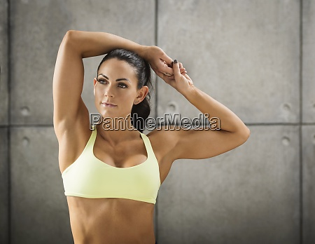 portrait of woman wearing sports bra