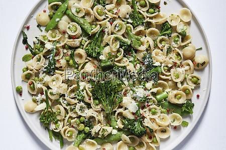 orecchiette with broccoli and peas on