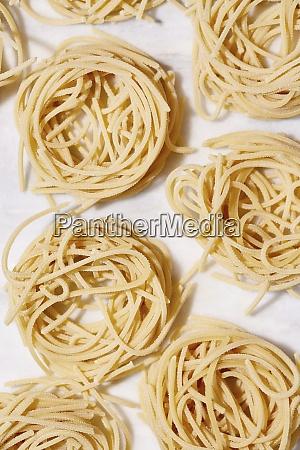 close up of curled spaghetti