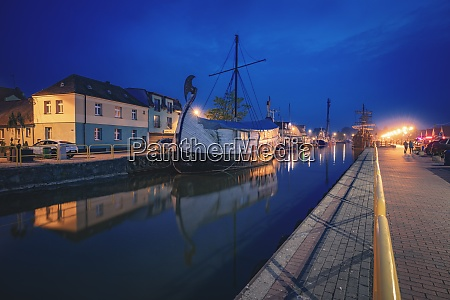 poland pomerania leba historic ship moored