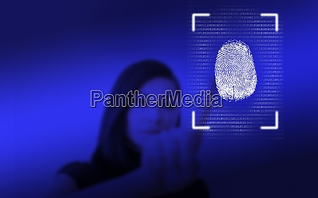 woman, leaving, her, fingerprint, on, screen - 29028221