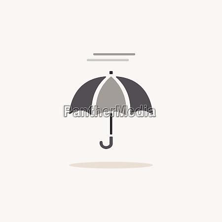 umbrella and fog color icon with