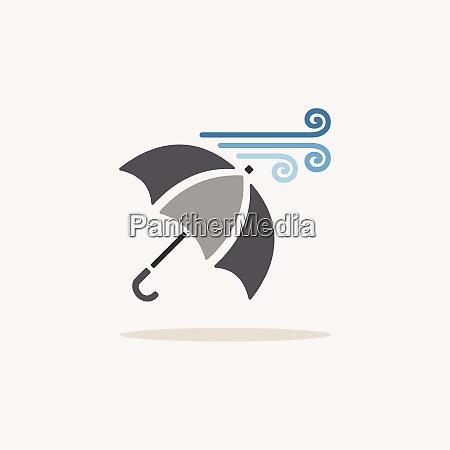 umbrella and heavy wind color icon