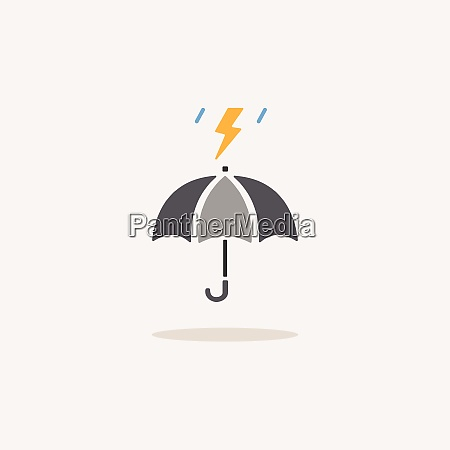 umbrella and storm color icon with