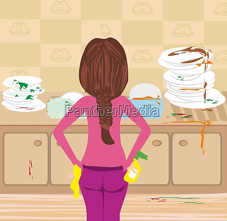 housewife cleaning dirty kitchen