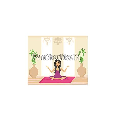 young woman practicing yoga indoors