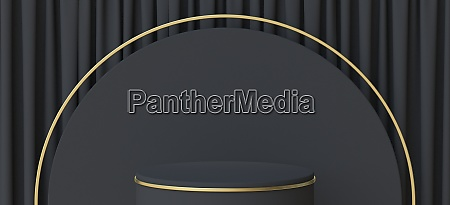abstract background black podium with golden