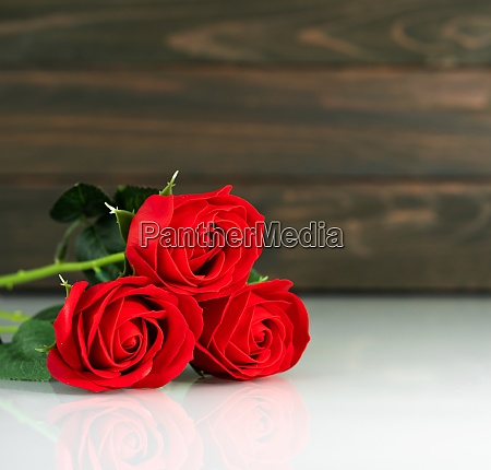 red roses on table with copy