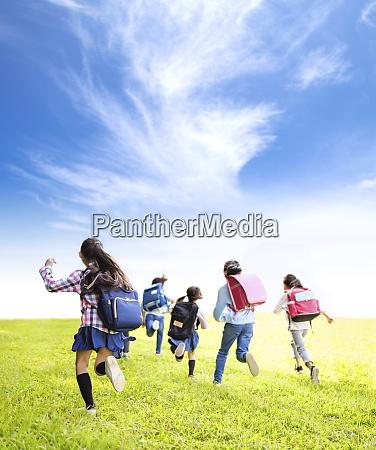 rear view of elementary school kids