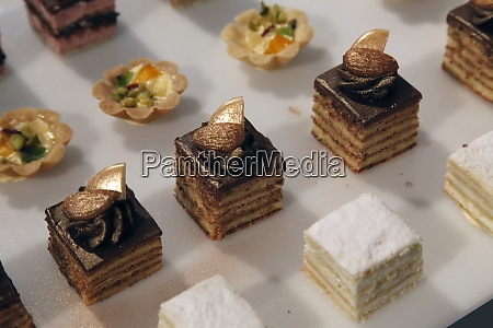 colorful desserts and pastry served on