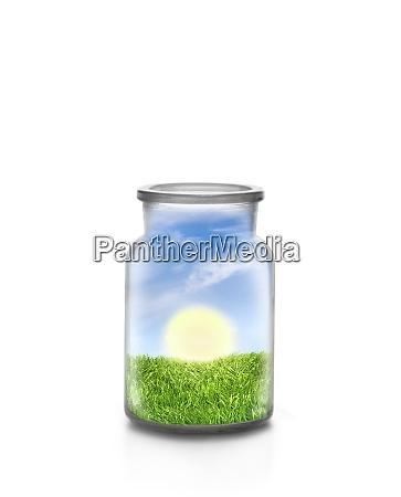 sunny landscape into a bottle