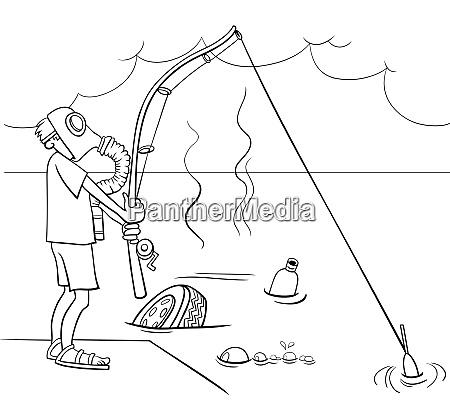 cartoon guy fishing in the sewage