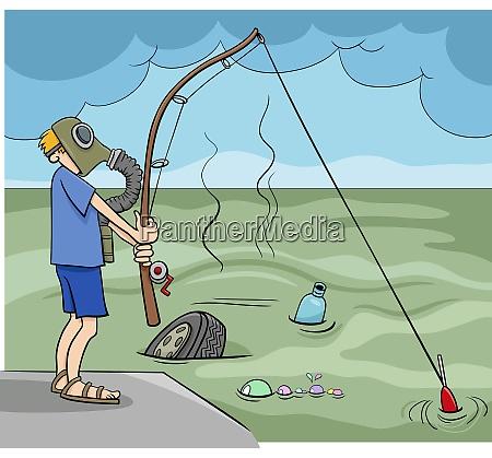 guy fishing in the sewage cartoon