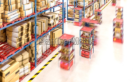 warehouse with goods in boxes and