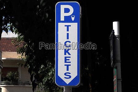 ticket automat sign for parking