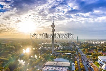 munich olympiapark olympiaturm muenchen skyline aerial