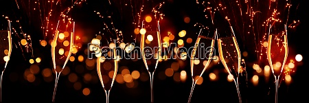 celebrations with champagne and fireworks