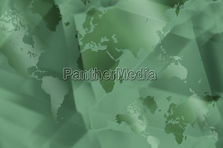 green abstract digital world map