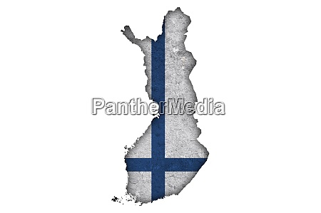 map and flag of finland on