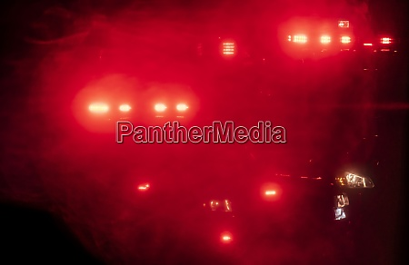 emergency lights on street at night