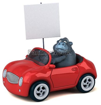 fun gorilla 3d illustration