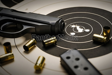 gun and ammo on target