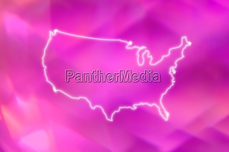 outline of usa on pink background