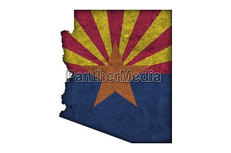 map and flag of arizona on