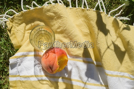 peach juice on picnic blanket