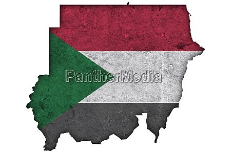 map and flag of sudan on
