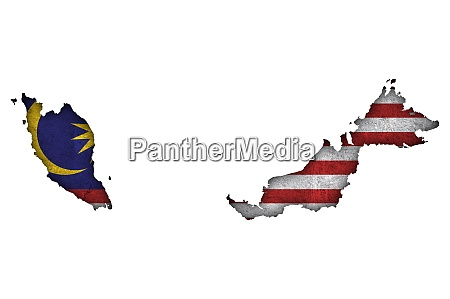 map and flag of malaysia on
