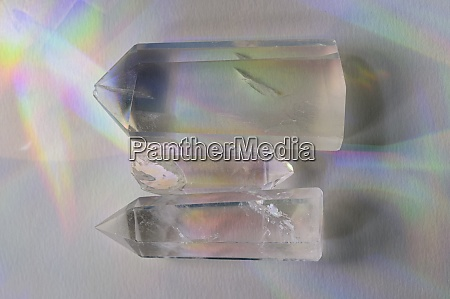quartz crystals on white background