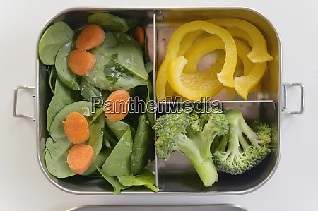 fresh vegetables in lunch box