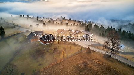 alpine village autumn rural landscape cold