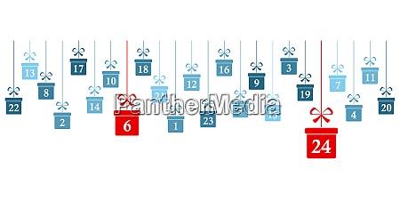 advent calendar 1 to 24 on