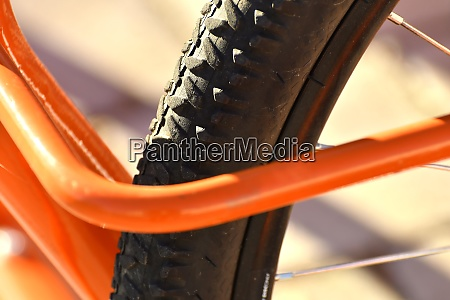 bicycle tyre in a bicycle stand
