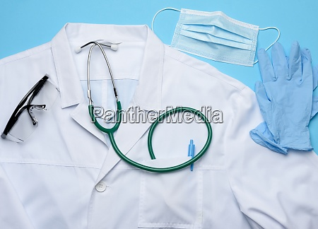 white medical gown disposable mask and