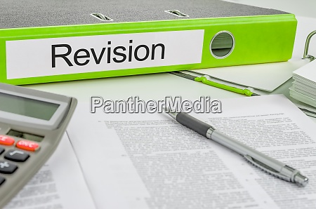 folder with the label revision