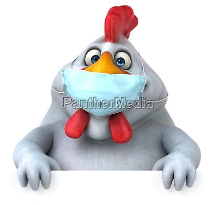 fun 3d cartoon chicken with a