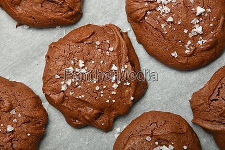 brownie chocolate cookies on baking paper