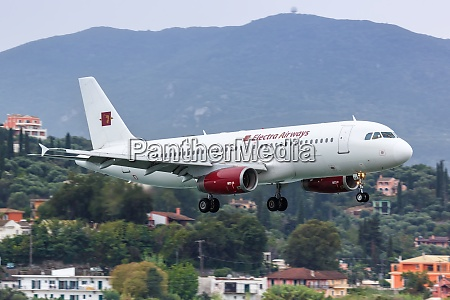 electra airways airbus a320 airplane corfu