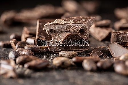pieces of chocolate bar broken dark