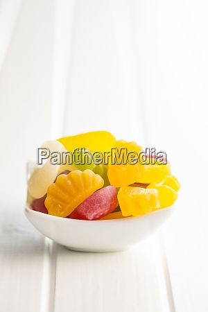 colorful fruity jelly candies in bowl