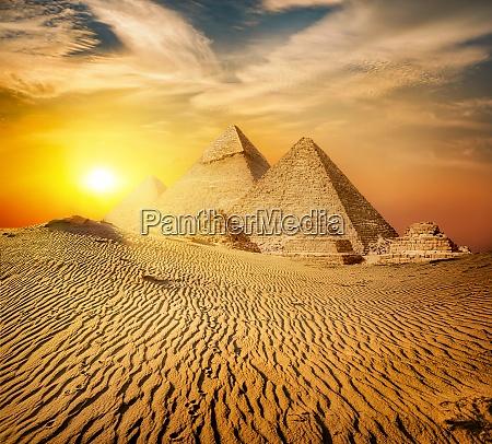 pyramid in sand desert