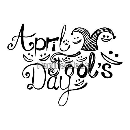 april fools day black ink lettering