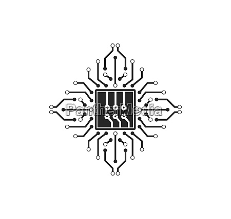 micro chip icon logo illustration vector