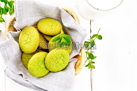 cookies mint in basket on board